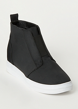 Black Perforated Wedge Sneakers