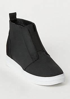 Black Perforated Wedge Sneakers