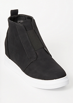Black Platform Band Wedged Sneakers