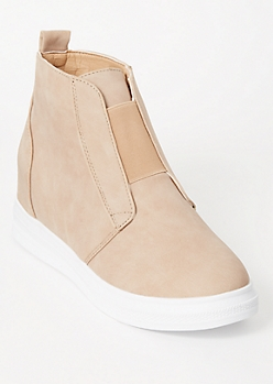 Nude Platform Band Wedged Sneakers