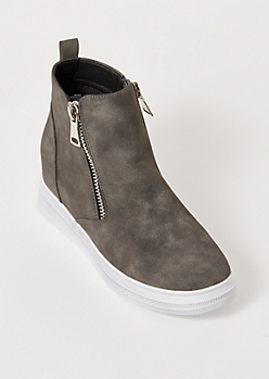 Gray Matte Side Zip Wedge Sneakers