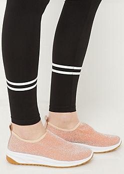 Light Pink Sparkle Retro Sneakers
