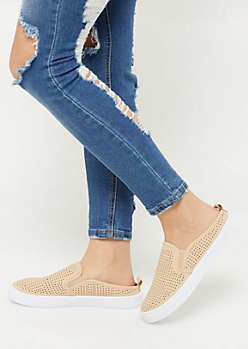 Khaki Perforated Backless Slip On Sneakers