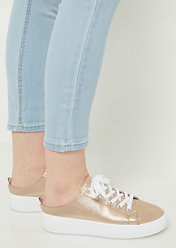 Rose Gold Backless Platform Sneakers