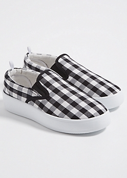 Black Gingham Platform Slipons