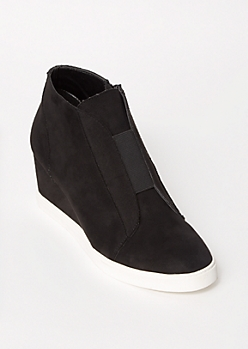 Black Faux Suede Gore Wedge Sneakers