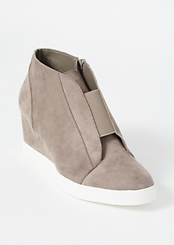 Gray Faux Suede Gore Wedge Sneakers