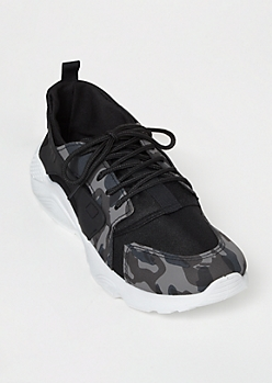 Black Camo Print Dad Sneakers