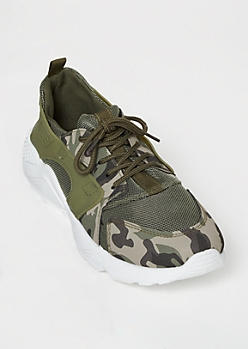 Olive Camo Print Dad Sneakers