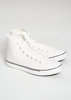 White Chunky Sole Canvas High Top Sneakers