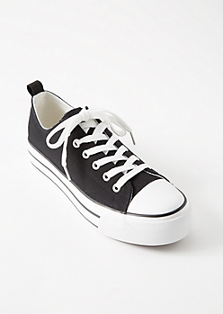 Black Chunky Sole Canvas Low Top Sneakers
