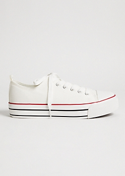 White Chunky Sole Canvas Low Top Sneakers