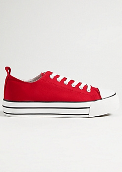Red Chunky Sole Canvas Low Top Sneakers