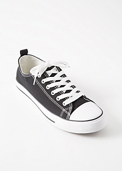 Black Striped Low Top Canvas Sneakers