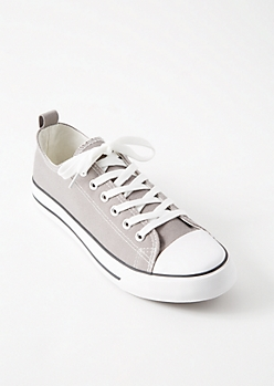 Gray Striped Low Top Canvas Sneakers