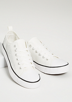 White Rhinestone Studded Sneakers