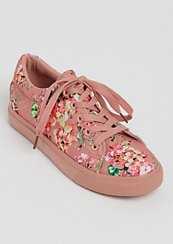 Pink Floral Lace Up Sneakers