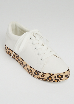 White Leopard Print Platform Lace Up Sneakers