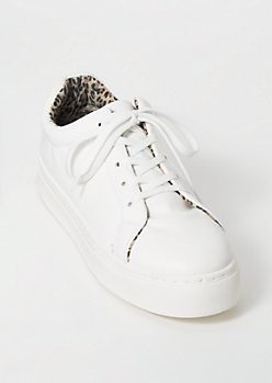 White Leopard Print Faux Leather Lace Up Sneakers