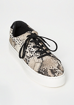 Snakeskin Print Faux Leather Lace Up Sneakers