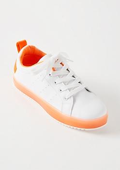 Neon Orange Low Top Jelly Sole Sneakers