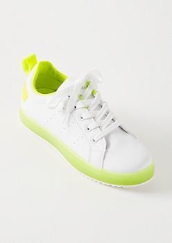 Neon Yellow Low Top Jelly Sole Sneakers