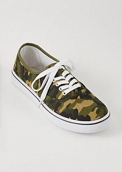 Camo Print Low Top Lace Up Sneakers
