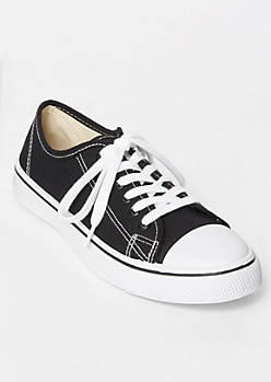 Black Low Top Canvas Sneakers