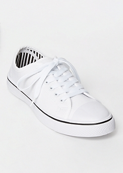 White Low Top Canvas Sneakers