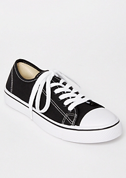 Black Canvas Low Top Sneakers