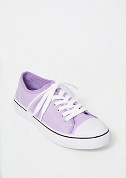 Lavender Canvas Low Top Sneakers