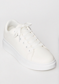 White Chunky Lace Up Sneakers