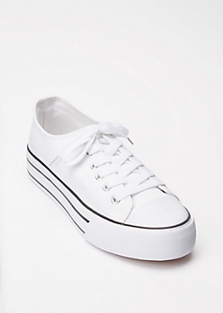 White Lace Up Platform Sneakers
