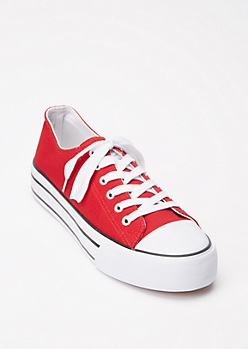 Red Lace Up Platform Sneakers