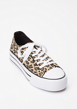 Leopard Print Lace Up Platform Sneakers