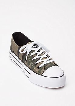 Camo Print Lace Up Platform Sneakers