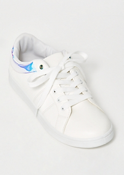 Iridescent Trim Lace Up Sneakers