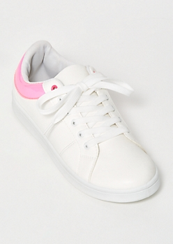 Neon Fuchsia Trim Lace Up Sneakers