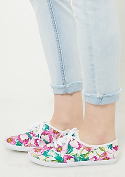 White Floral Print Favorite Canvas Sneakers