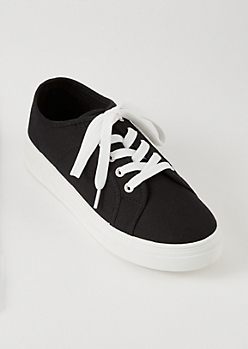 Black Canvas Lace Up Sneakers