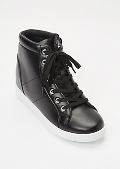 Black Moto Wedge Sneakers