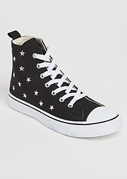 Star Studded High Top Canvas Sneakers