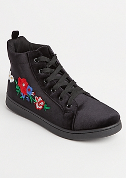 Floral Embroidered Velvet High Top Sneakers