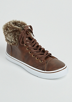 Brown High Top Faux Leather Sneakers