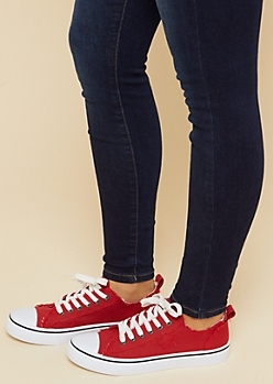 Red Frayed Canvas Low Top Sneakers