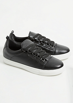 Black Faux Leather Sneakers