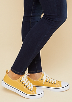 Yellow Canvas Lace Up Sneakers