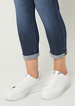 Silver Perforated Platform Sneakers
