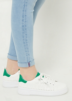 Green Perforated Platform Sneakers