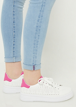Fuchsia Perforated Platform Sneakers